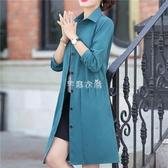 中老年女裝冬季四十歲外套2020新款中長款氣質棉麻風衣大衣民族風 快速出貨