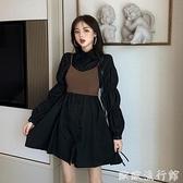 襯衫洋裝 2021新款秋季復古小黑裙子顯瘦收腰小個子氣質長袖襯衫連衣裙女裝 歐歐