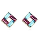 水晶耳環 925純銀(耳針式)-撞色正方形生日聖誕節交換禮物女飾品3色73bd42[時尚巴黎]