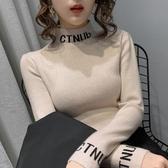 半高領針織衫加絨秋冬半高領內搭修身字母套頭女士百搭針織打底衫毛衣春季特賣