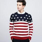 針織毛衣 長袖-時尚星星條紋拼接男針織衫2色73ik84[時尚巴黎]