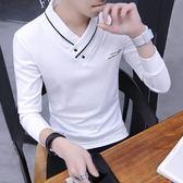 春秋季男士V領長袖T恤衛生衣韓版修身連帽T恤秋裝男裝打底衫上衣服 9號潮人館