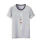 短袖T恤-日糸印花條紋圓領男上衣2色73mj36【巴黎精品】