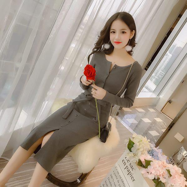 VK精品服飾 韓國風螺紋修身顯瘦開叉長裙長袖洋裝