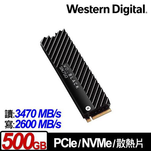 WD 黑標 BLACK SN750 500GB 3D NAND M.2 PCI-E SSD 固態硬碟 (配備EKWB散熱片) WDS500G3XHC