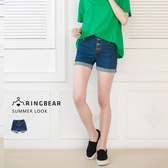 高腰短褲--舒適彈性顯瘦修身排釦車線設計反摺高腰牛仔短褲(藍XL-5L)-R190眼圈熊中大尺碼