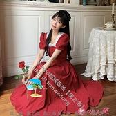 短袖洋裝 夏天法式復古蕾絲v領裙子夏季顯瘦泡泡袖紅色連身裙女夏【風之海】