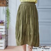 【Tiara Tiara】民俗風純棉直壓摺紋半身裙(深藍/草綠)