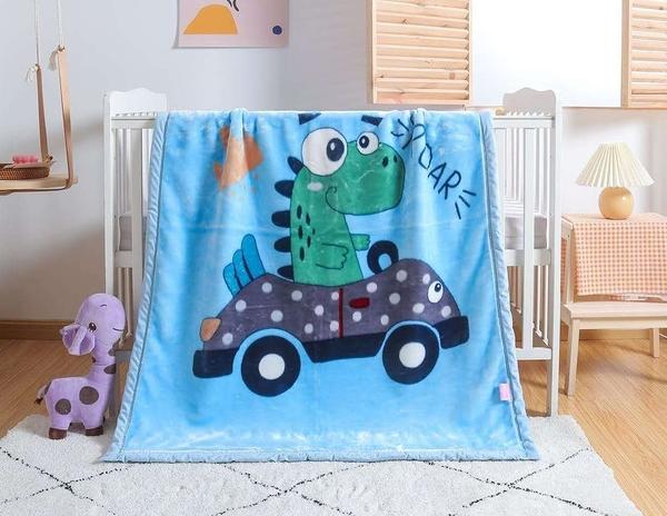 韓系可愛風 秋冬必備雙層加厚多功能法蘭絨雲毯 兒童毯《恐龍司機》