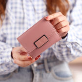 ~TT ~ 簡約短款錢包女士 搭扣皮夾迷你小錢夾學生零錢包卡包