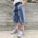 男童褲子夏季薄款外穿2021新款中大童夏裝牛仔短褲潮兒童七分中褲 一米陽光