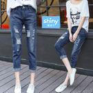 【V9172】shiny藍格子-休閒樂章.破洞寬鬆九分牛仔褲