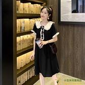 洋裝連身裙孕婦夏裝娃娃領洋氣短袖上衣潮夏天裙子甜美孕婦連衣裙品牌【玉米】