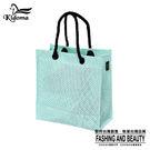 手提袋-編織袋(S)-綠白-03C