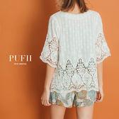 PUFII-罩衫 微透肌質感雕花開襟短版罩衫薄外套-0621 現+預 夏【CP14847】