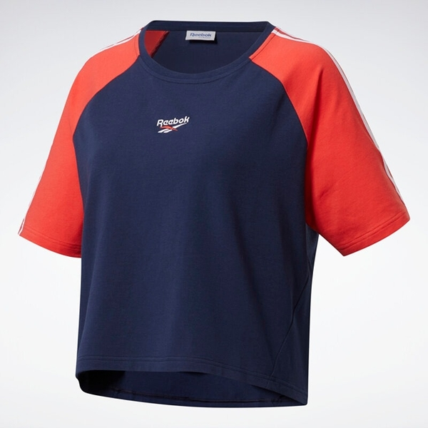 REEBOK CL QDT 女裝 短袖 短版 休閒 穿搭 舒適 透氣 紅 藍 白【運動世界】FQ4959