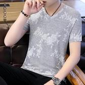 短袖男夏季新款男士大碼冰絲t恤韓版潮流v領裝純色體恤帥氣半袖上衣服LXY6874[黑色妹妹]