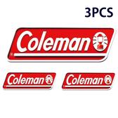 【美國Coleman】原廠貼紙/3PCS ( 3件組 ) CM-0524 露營戶外登山抗UV防退色汽車貼紙標籤標貼LOGO