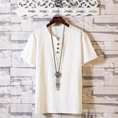 唐裝男 亞麻套裝男士夏季寬鬆棉麻短袖T恤中國風半袖休閒兩件套衣服夏裝 雙11