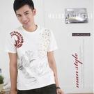 【大盤大】(T61973) 男 台灣製 夏 純棉T恤 米白 短袖套頭圓T 寬鬆 情侶裝 燙金休閒短T【剩M和L號】