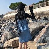 春裝新款韓版寬鬆中長款背帶裙 復古學生牛仔裙無袖連身裙女潮