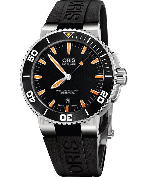ORIS 豪利時 Aquis 時間之海專業潛水機械手錶-黑/橘時標 0173376534159-0742634EB