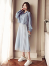裙子女春秋新品百搭兩件套網紗連衣裙法式少女茶歇裙氣質長裙
