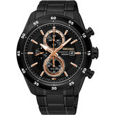 SEIKO 精工 Criteria 零極限三眼計時手錶-黑/44mm V176-0AR0K(SSC545P1)