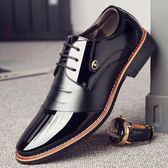 店長推薦▶皮鞋—男士商務正裝黑色漆皮鞋男春季潮鞋韓版英倫尖頭休閒內增高男鞋子