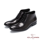 CUMAR英倫紳士 綁帶牛皮英式短靴-黑...