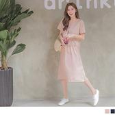 《DA6905》高棉假兩件開衩純色圓領拼接蛋糕裙襬短袖洋裝 OrangeBear