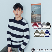 【OBIYUAN】針織衫 MIT 配色 毛衣 寬條紋 圓領長袖衣服 共7色【X313】