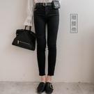 現貨-MIUSTAR 附皮帶皮包假破洞黑牛仔靴型褲(共1色,S-XL)【NH3322】預購