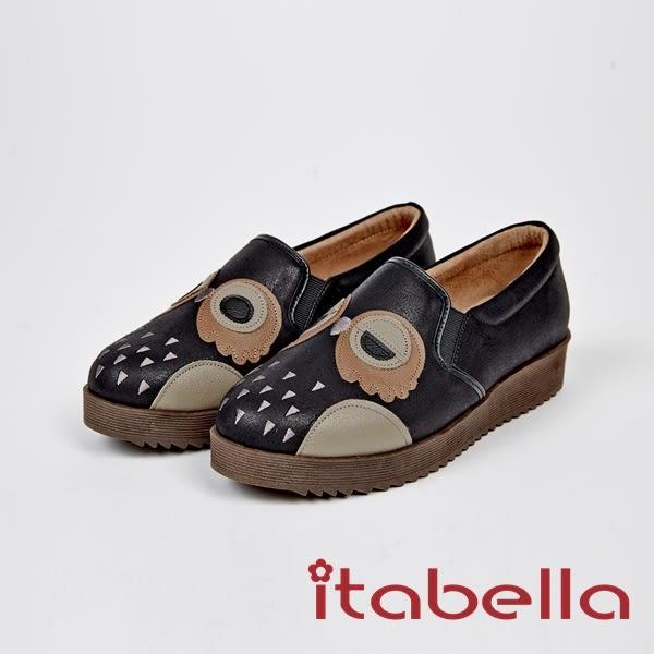 ★2017秋冬新品★itabella.甜美可愛-貓頭鷹造型牛皮包鞋(7572-90黑)