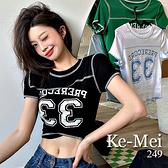 克妹Ke-Mei【AT69441】PRERE33逆齡韓妞短版顯胸T恤上衣