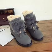 雪靴 流蘇雪地靴女2019冬季新款平底防滑棉靴厚底中筒短靴學生高幫棉鞋