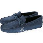 TOD'S Gommino 壓紋麂皮綁帶休閒豆豆鞋(男鞋/菸藍色) 1820105-B1