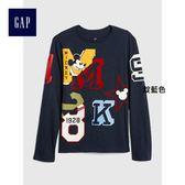 Gap x Disney男童 迪士尼系列純棉兒童印花圓領長袖T恤 398870-靛藍色