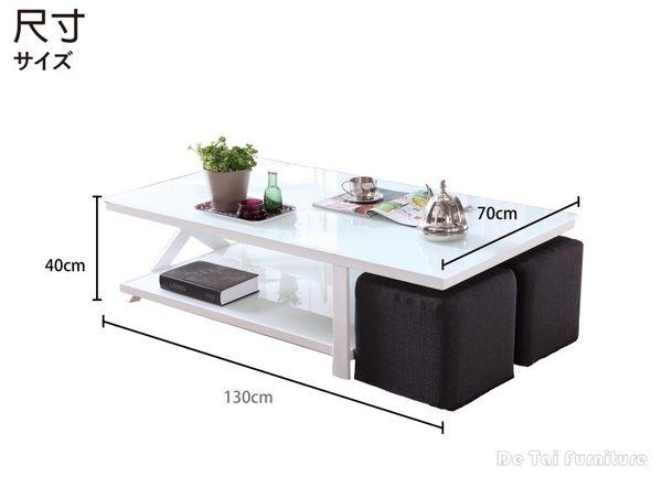 【德泰傢俱工廠】淨白質感玻璃茶几 家具