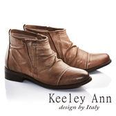 ★零碼出清★Keeley Ann英倫爵士風真皮拼接仿舊短靴(駝色)-Ann系列