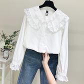 蕾絲打底衫白襯衫女2019春裝新款韓版長袖寬松蕾絲娃娃領蕾絲襯衣娃娃衫上衣【快速出貨】