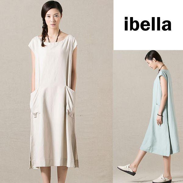 現貨出清不退不換,慎選-貼口袋小蓋袖棉麻洋裝連身裙【86-16-9292】ibella 艾貝拉