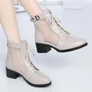 紅女蜻蜓新款真皮女鞋低跟馬丁靴軟皮網紗涼靴系帶休羅馬涼鞋 快速出貨