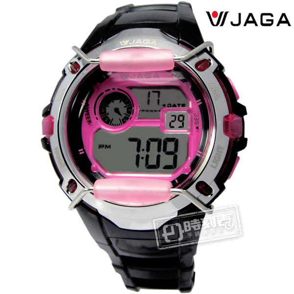 JAGA 捷卡 / M872-AG / 第二地時間電子運動計時鬧鈴防水冷光照明橡膠手錶 黑粉色 39mm