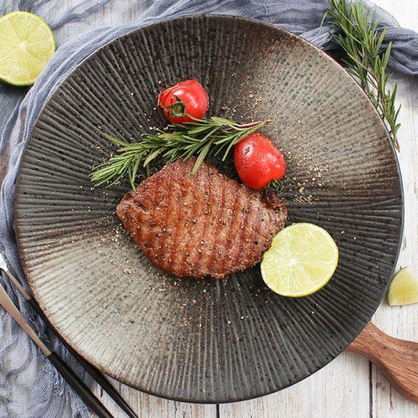 創意盤子日式黑色圓形磨砂陶瓷餐具餐盤菜盤家用個性西餐盤牛排盤 卡布奇