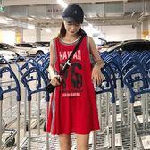 內搭背心 夏季女裝正韓中長版運動風字母數字印花球衣寬鬆顯瘦無袖T恤上衣小c推薦