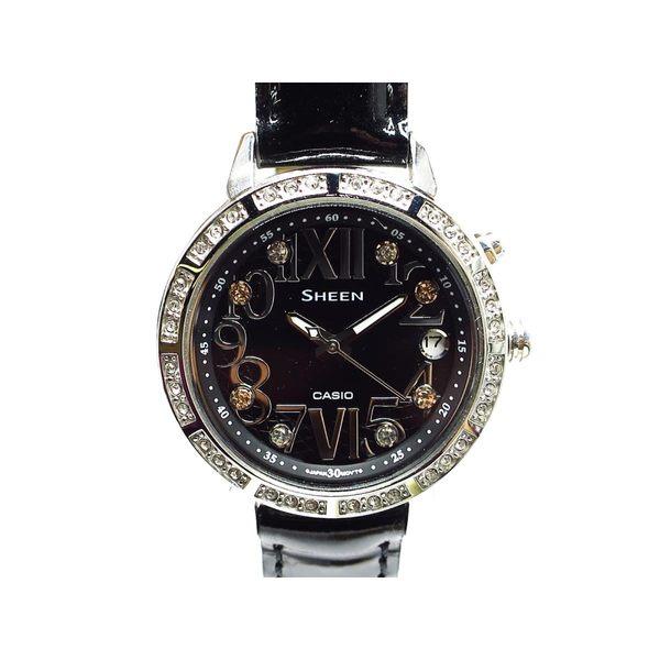 CASIO 卡西歐 Sheen系列水鑽黑色面盤石英腕錶 SHE-4031 【BRAND OFF】