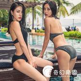 連體泳衣-韓國連體泳衣顯瘦遮肚性感比基尼泡溫泉泳裝-奇幻樂園