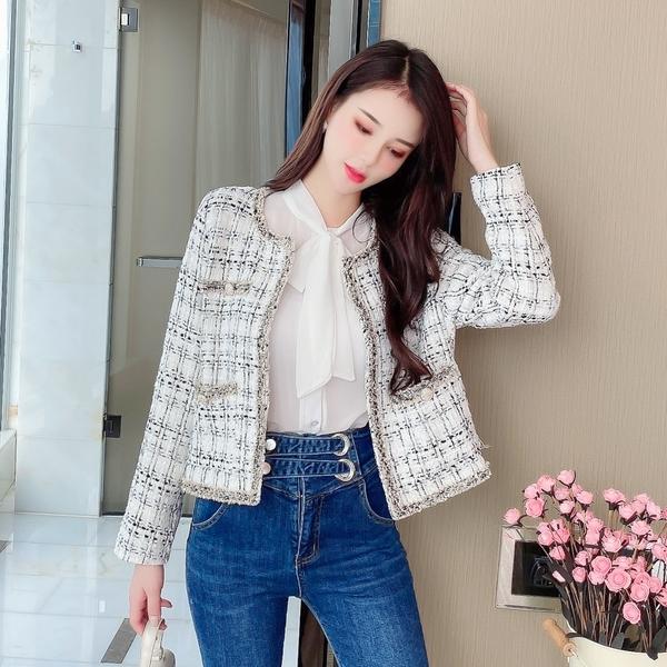 VK旗艦店 韓國風優雅小香風氣質格紋外套單品長袖上衣
