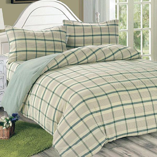 【Victoria】日式條紋單人床包被套枕套三件組-葉綠